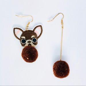 New! Boston Terrier Dog Pom Pom Earrings